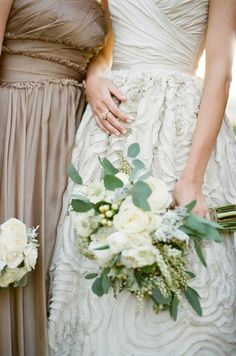 Toasted almond #bridesmaid dresses with white and green bouquets.