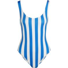 Solid and Striped The Anne-Marie striped swimsuit (395 TND) ❤ liked on Polyvore featuring swimwear, one-piece swimsuits, swimsuit, blue, striped swimwear, low-back one-piece swimsuits, one piece swimsuit, swimsuit swimwear and blue bathing suit