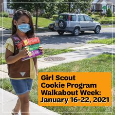 We will kick off the 2021 Girl Scout Cookie Program with Walkabout Week, where Girl Scouts can begin selling cookies to family, friends, and neighbors. Print out and color in our cookie door hanger to let your neighbors know you are selling! 