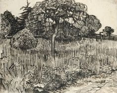"A wonderful ink sketch by Van Gogh ""Weeping Tree in the Grass"". Your Summer Art Guide on the Oh She Paints Blog."