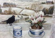 Buy Sarah Bowman Prints online from White Space Art, Totnes. Illustrations, Illustration Art, Jam Jar Flowers, Painting Snow, Naive Art, Christmas Art, Pretty Pictures, Altered Art, Flower Art