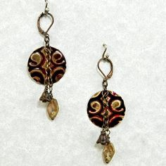 Cranberry Brocade Metalwork Patina and Glass OOAK by enlalumiere, $30.00