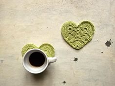 little hearts crocheted coasters in light green cotton set of 2 for your breakfast -