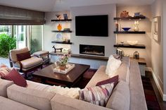 Contemporary Living Room Tv Above Fireplace Design, Pictures, Remodel, Decor and Ideas - page 15