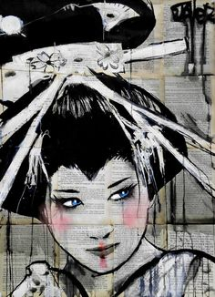 "Saatchi Art Artist Loui Jover; Drawing, ""blue eyed geisha"" #art"