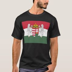 Shop Kingdom of Hungary Flag T-Shirt created by GrooveMaster. Hungary Flag, Front Design, Tshirt Colors, Flags, Colorful Shirts, Kids Outfits, Fitness Models, Casual, Sleeves