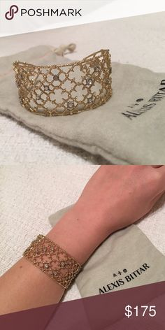 ⚡️ sale! Alexis Bittar cuff Gorgeous matte/brushed gold plated with crystals. Alexis Bittar Jewelry Bracelets