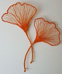 Meredith Woolnough | Gallery...Two Ginko Leaves (2012) embroidery thread, pins, glass rods on fabriano paper