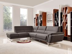 Divani Casa Navarro Modern Brown Fabric Sectional Sofa - VGMB-1612