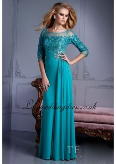 Turquoise Chiffon Long Sleeves Prom Dress With Crystal
