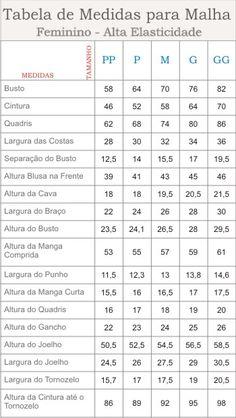 malha alta elasticidade Essa Tabela deverá ser usada para roupas de malha justas ao corpo e para Malha com Alta Elasticidade.