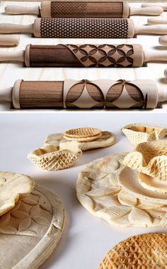 Rollware, designed by Joanne Choueiri, Giulia Cosenza, and Povilas Raskevicius, is a set of rolling pins with laser cut shapes in them that lets you roll out and make edible dishware. The baked bread plates can then be eaten instead of being thrown away when you're done.