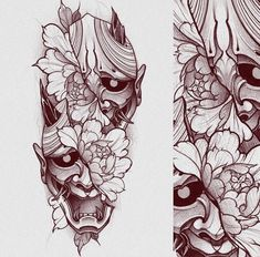 Japanese Demon Tattoo, Tattoo Japanese Style, Japanese Tattoo Designs, Forearm Tattoo Design, Skull Tattoo Design, Tattoo Sleeve Designs, Red Ink Tattoos, Asian Tattoos, Body Art Tattoos