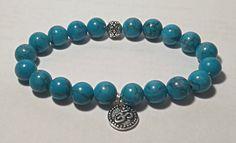 Om Bracelet, Blue Magnesite, Turquoise Jewellery, Beaded Bracelet, Ohm Bracelet, Beaded Bracelet, by HarleysJewellery on Etsy