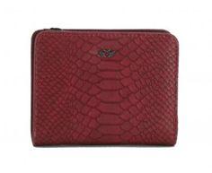 !!!Schlangenmuster Portmonee Fritzi aus Preußen Cobra Ruby rot Zip Around Wallet, Dark Red, Artificial Leather, Sachets, Silver