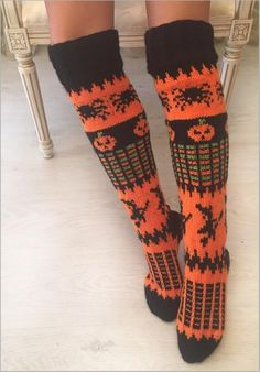 Halloween Woman Knee Socks Pattern, Knitting Pattern, Halloween Costume Pattern, Black and Orange Pumpkin Socks Halloween Costume Patterns, Halloween Socks, Halloween 2020, Halloween Costumes, Halloween Knitting Patterns, Double Knitting Patterns, Halloween Crochet, Halloween Halloween, Knee Socks
