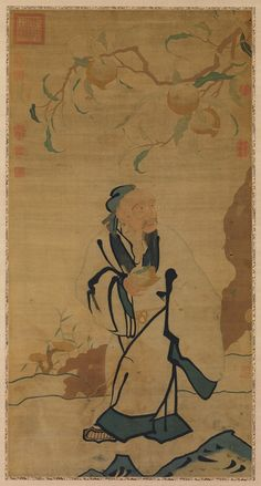 "Immortal Holding a Peach. China, Ming dynasty (1368–1644). Silk tapestry (kesi); Overall: 46 x 24 in. (116.8 x 61 cm). The Metropolitan Museum of Art, New York, Gift of Ellis G. Seymour, 1926 (26.114.4)  Exhibit- Painting with Threads: Chinese Tapestry and Embroidery, 12th–19th Century Through August 16, 2015 Gallery. ""The thinness and strength of silk make it the ideal material for weaving or embroidering elegant, painting-like images characterized by fluid outlines, rich colors, and even…"