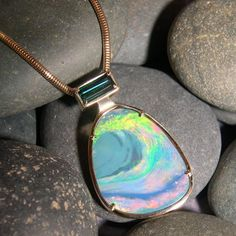 Australian Boulder Opal, Teal Tourmaline, Gold Pendant - Love the swoosh in the opal! Opal Necklace, Pendant Jewelry, Jewelry Art, Gemstone Jewelry, Jewelry Design, Jewelry Necklaces, Gold Pendant, Jewelery, Bling