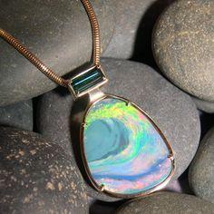Australian Boulder Opal, Teal Tourmaline, 14k Gold Pendant