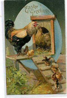 Easter Greetings Vintage Postcard Chicks by sharonfostervintage, $2.50
