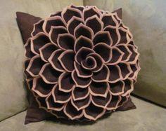 Decorative Pillow Felt Flower Pillow Pattern by SewYouCanToo
