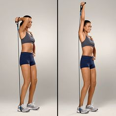 OVERHEAD TRICEP EXTENSION    Stand with your knees slightly bent and your right foot on one end of a resistance band. Holding the other end with your right hand, bend your elbow, creating an angle. Keeping your shoulders down, straighten your right arm until it's almost fully locked. Return to the start position. Do four sets of 12 reps on each side.