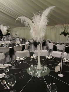 A black and white wedding design  for a gangster and molls wedding. Do we have table mirrors? This is nice...