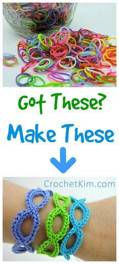 Stretchy Bracelets Made Loom Rubber Bands free crochet pattern at CrochetKim Crochet Gratis, Free Crochet, Knit Crochet, Crochet Style, Crochet Buttons, Crochet Shawl, Loom Bands, Rubber Band Crafts, Rubber Bands