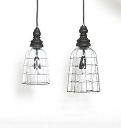 industrial Glass lightshade  black