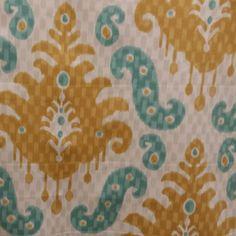Bukhara Sunglow Gold Ikat Design Drapery Fabric - 57497   BuyFabrics.com
