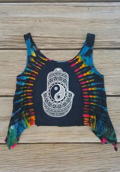 Yin Yang Hamsa Tie Dyed Crop Top by TheLotusPetals on Etsy