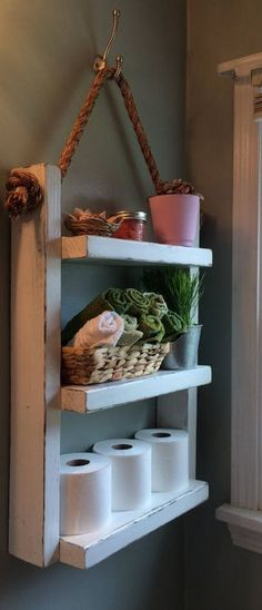 Rope Hanging Shelf, Wooden Ladder Shelf, Storage Shelf, Bathroom Storage,Rustic Shelf, Over The Toilet Storage, Bathroom Towel Rack, White by LakeViewWoodArt on Etsy