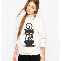 Black Cat Print Sweatshirt for Women //Price: $17.00 & FREE Shipping //     #instagood