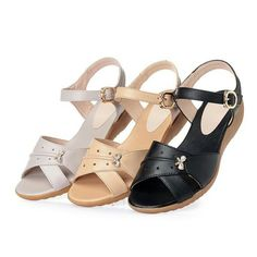 Buckle Strap Peep Toe Wedges Soft Sole Casual Flat Shoes is comfortable to wear. Shop on NewChic to see other cheap women sandals on sale. Girls Sandals, Shoes Sandals, Flat Shoes, Heels, Gents Slippers, Tolu, Peep Toe Wedges, Sandals For Sale, Types Of Shoes