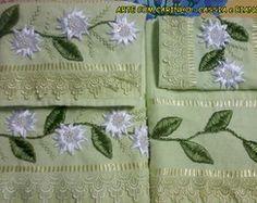 Toalhas Verde Com Girassol Branco