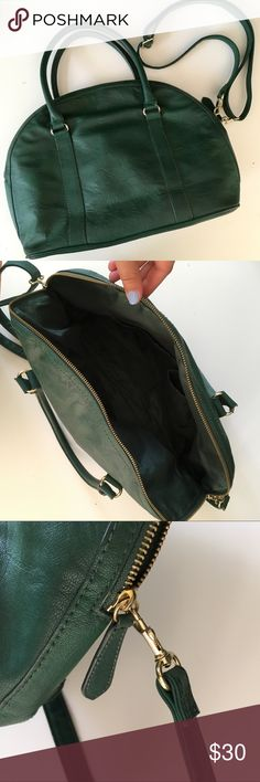 H&M Vegan Leather Structured Bag Beautiful forest green structured handbag from H&M. Perfect everyday bag, with decently firm base (doesn't sag). Great condition! H&M Bags Satchels