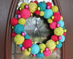 """Wreath, 14"""" Christmas yarn ball wreath in hot pink, lime green & turquoise, MADE TO ORDER"""