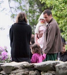 Adam Sandler and family on movie set in Massachusetts