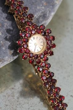 Vintage 1930's Incabloc Gold Washed Sterling Silver Bohemian Garnet Ladies Watch