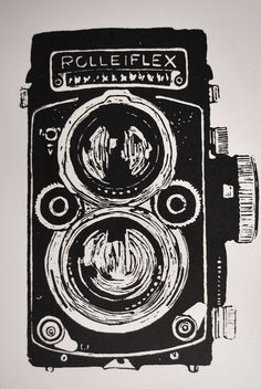 rolleiflex camera screenprint : art