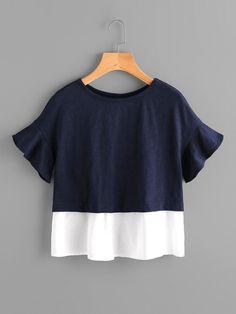 Bell Sleeve Overlap Back Mixed Media T-shirt