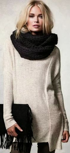 see more Gorgeous Long White Sweater, Amazing Black Scarf and Handbag