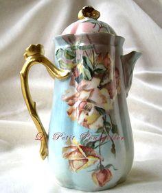 1900 Wm Guerin Limoges France Porcelain Chocolate Pot♥