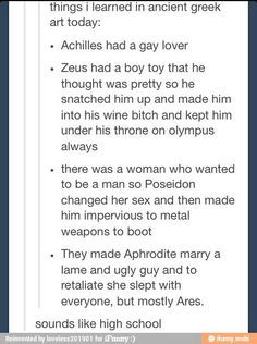 Aphrodite actually loved Hephaestus, she wasn't *forced* to marry him, but she did indeed still sleep with others>> reminds of all the good things in Greek mythology Percy Jackson, Greek And Roman Mythology, Greek Gods, Greek Mythology Quotes, Greece Mythology, Tumblr Funny, Funny Memes, Hilarious, Funny Quotes