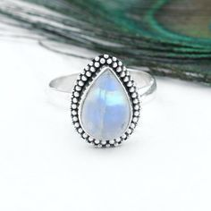 moonstone ring for woman blue flash pear shape Dainty Delicate ring anniversary gift. Rose Gold Moonstone Ring, Rainbow Moonstone Ring, Moonstone Jewelry, Gemstone Jewelry, Big Wedding Rings, Wedding Ring For Her, Wedding Ring Designs, Bohemian Rings, Boho