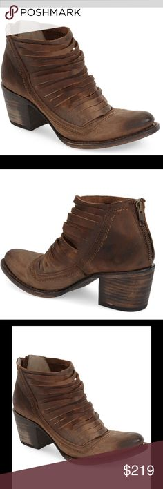 "Freebird By Steve Sabra' Leather Bootie NWT Brown Taking preorders arriving this week Slim stacked straps further the contemporary vibe of an authentic Italian bootie handcrafted from distressed leather. A burnished almond toe and chunky stacked heel add a hint of Western-inspired appeal. 2 1/2"" heel (size 9). 4"" boot shaft. Back zip closure. Leather upper, lining and sole. By Freebird by Steven; made Freebird By Steve  Shoes Ankle Boots & Booties"