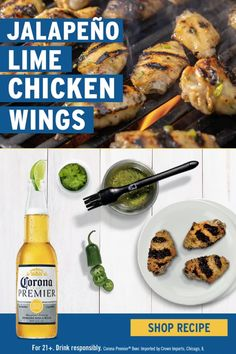 Corona X Weber brings you chicken wings with a spicy twist. This light, yet flavorful Grilled Jalapeño Lime Chicken Wings recipe is sure to be a hit this summer. Pair this dish with chilled Corona Premier® for a delightful and delicious meal. Check out the full recipe and add ingredients to your shopping list. Lime Chicken, Chicken Wings, Number Games, Chicken Wing Recipes, Big Waves, Sandy Beaches, Surfboard, Surfing, Bring It On