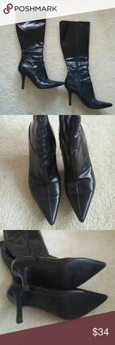 """Nine West """"Blondy"""" Black Leather Boots Black Leather boots with 3.5 inch heels. Zips on the inside of each boot. Elastic panel on back of boot allows for stretch around calf. Size 7M. Top of boot hits below the knee. EUC! Nine West Shoes Heeled Boots"""