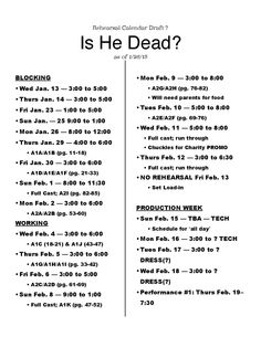 Page  Of Is He Dead Rehearsal Report Example  Stage Management