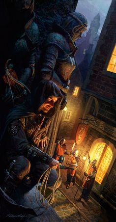 illustration by Michael Komarck. Classic D&D rogue (thief) posing with his climbing gear + bow & quiver